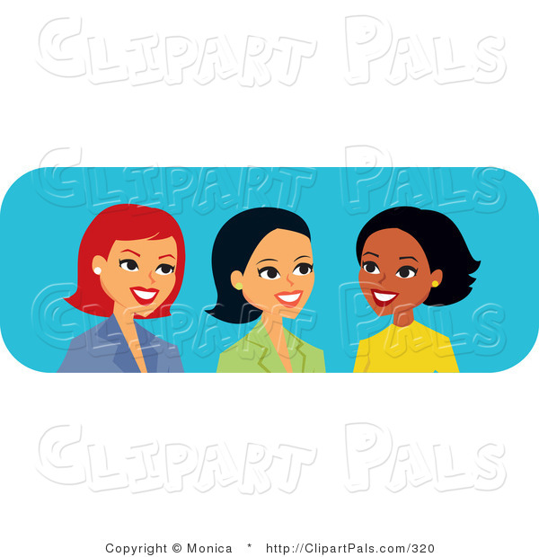 Pal Clipart of Three Diverse Caucasian, Hispanic and Black Women Talking