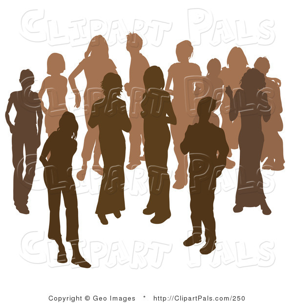 Pal Clipart of Two Women Chatting Among a Group of Silhouetted Brown People