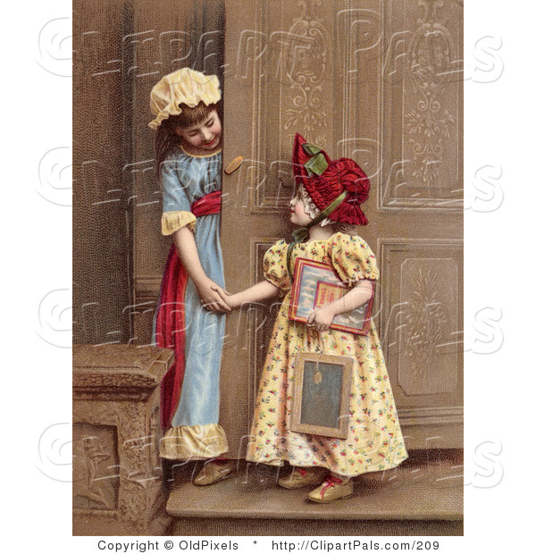 Pal Clipart of Two Young Girls at a Doorway, Smiling and Holding Hands, Circa 1880