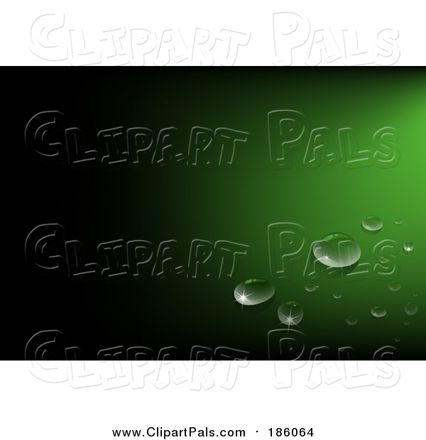 Pal Clipart of Water Drops on Green