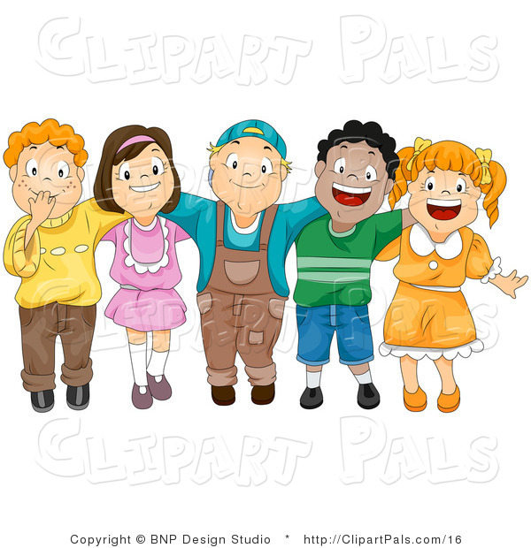 Pal Vector Clipart of a Group of Diverse Children