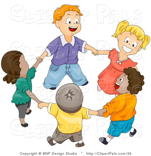 Pal Vector Clipart of a Group of Happy Diverse Kids Holding Hands and Playing Ring Around the Rosie