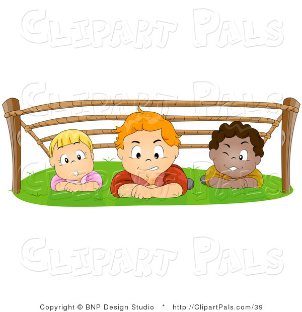 Pal Vector Clipart of a Group of Kids Hiding out and Crawling Under a Rope Structure