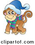 Clipart of a Smiling Warm Monkey Ready for Cold, Winter Weather - Cartoon Style by Visekart