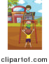 Clipart of Children Playing on Playground Monkey Bars at Recess by Graphics RF