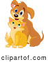 Pal Clipart of a Cheerful Puppy with a Short Kitty by Pushkin