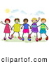 Pal Clipart of a Group of Diverse Stick Children Holding Hands Outside by BNP Design Studio
