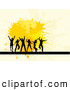 Pal Clipart of a Group of Happy Silhouetted Dancers over Yellow Splatters on Beige by KJ Pargeter