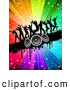 Pal Clipart of a Group of Silhouetted Dancers on a Black Grunge Speaker Bar over a Starry Rainbow Burst by KJ Pargeter