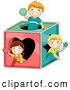 Pal Clipart of a Group of Three Kids Playing in a Shape Box by BNP Design Studio
