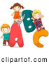 Pal Clipart of a Group of Three Kids Playing on an ABC Playground by BNP Design Studio