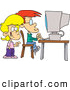 Pal Clipart of a Pair of Friendly Cartoon School Children Using a Computer by Toonaday