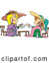Pal Clipart of a Pair of Happy Girls Playing Dress up at Tea Time by Toonaday