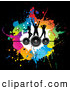 Pal Clipart of a Pretty Background of Silhouetted Dancers on Speakers over Colorful Splatters on Black by KJ Pargeter
