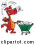 Pal Clipart of a Red Dragon Tossing Items in a Shopping Cart by Dennis Holmes Designs