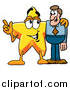 Pal Clipart of a Star Character Talking to a Business Man by Toons4Biz