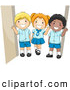 Pal Clipart of a Trio of Diverse School Kids in Their Uniforms by BNP Design Studio