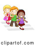 Pal Clipart of a Trio of Diverse School Kids Walking in Line on a Crosswalk by BNP Design Studio
