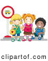Pal Clipart of Diverse School Kids Waiting at a Bus Stop to Go to Class by BNP Design Studio