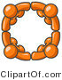 Pal Clipart of Four Orange People Standing in a Huddle and Holding Hands for Teamwork and Unity by Leo Blanchette