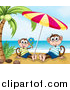 Pal Clipart of Happy Monkeys Under a Beach Umbrella by Graphics RF