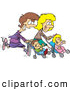 Pal Clipart of Happy Mother Friends Running with Strollers by Toonaday