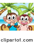 Pal Clipart of Laughing Monkeys on a Tropical Beach by Graphics RF