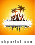 Pal Clipart of Silhouetted Beach Party People Dancing and Palm Trees with Copyspace and Grunge on Yellow by KJ Pargeter